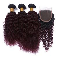 örgü için ombre kıvırcık saç toptan satış-Yeni Varış Ombre Bordo 99J Renk Brezilyalı Kinky Kıvırcık Saç Demetleri Ile Dantel Kapatma # 1B 99j Saç Örgüleri Ile Kapatma 4 Adet Lot