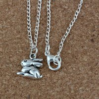 Wholesale bunny necklaces for sale - Group buy MIC Ancient silver Alloy Bunny Rabbit Charms Pendant Necklaces inches Chains Jewelry DIY A d