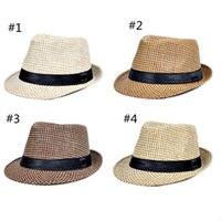 Wholesale Wide Brimmed Cooling Hats - jazz straw hats for men Panama woven hats wide brim sun Hats cool men jazz top caps YYA1098