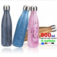 ingrosso acciaio freddo diretto-Bottiglia di acqua di grano in legno in acciaio inox Bottiglia di vuoto isolata termica bottiglia di acqua fredda doppia bottiglia diretta bere 500ML