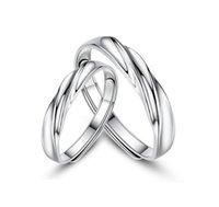 pareja anillo de plata de ley par al por mayor-Simple coreano Real 925 Sterling Silver Pair Anillos para Parejas apertura amantes de la onda anillo de la joyería al por mayor