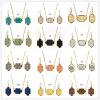 Wholesale indian necklaces stones online - 15Colors kendra Drusy Druzy Necklace With Stud Earrings Jewelry Set Gold Silver Plated Resin Geometry Stone Scott Necklace Earrings