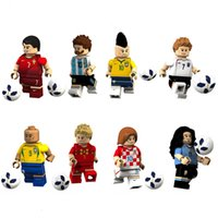 Wholesale Plastic Blocks For Babies - World Cup football building block bricks baby toys Educational DIY Toy action Figure for Children wholesale DDA326