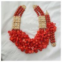 afrikanische korallenhalsketten großhandel-Amazing Red Coral Beads African Hochzeit Schmuck Set voller Perlen Original Coral Statement Frauen Halskette Set CNR864