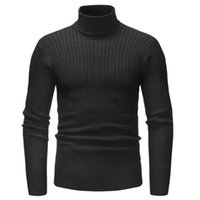 jersey delgado elegante de los hombres al por mayor-Moda con estilo de invierno cálido hombres Slim Knit manga larga Pullover Hombres Casual Color sólido cuello alto Jumper suéter Top