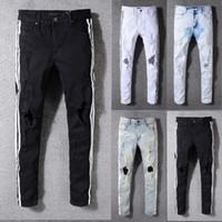 estilo do motociclista dos homens venda por atacado-2018 moda mens biker jeans famoso estilo de design da marca jeans rasgados homens top quality plus size venda quente