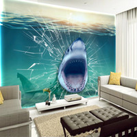 Wholesale underwater wall art - 3D Underwater Shark Fish Broken Glass Customized Art Canvas View Wallpapers Living Room Bedroom Wall Mural Home Decorations