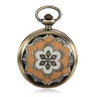 eski saat kılıfları toptan satış-Yeni Aydınlık Mekanik Pocket Watch Steampunk Vintage Çiçek Vaka Analog İskelet El Sarma Erkekler için Mekanik Cep İzle