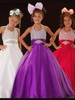 königliche lila blumenmädchenkleider großhandel-Bright Royal Blue Lila Halter Perlen Blumenmädchen Kleider Mädchen Pageant Kleider Urlaub / Geburtstag Kleid / Rock Benutzerdefinierte Größe 2-14 DF708310