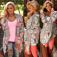 mulheres de jaqueta assimétrica venda por atacado-Mulheres Casuais Casacos de Malha Cardigan Camisola Casacos Assimétrica Geométrica Jaquetas de impressão Camisa Longa Capa C5357