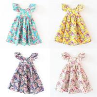 bebek çiçek kız elbise kelebek toptan satış-Yeni bebek kız çiçek baskı Plaj elbise yaz Halter Kelebek kollu Çocuk Çiçek elbise Çocuk Giyim 5 renkler C2330