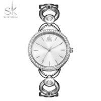 женские маленькие часы оптовых-Shengke Марка Леди простой небольшой круглый циферблат скелет браслет женские часы лучший бренд повседневная кварцевые часы горячие часы Reloj Mujer