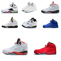 Wholesale marks shoes - 2018 Cheap shoes 5s Fire red Basketball Shoes Silver Bin 23 Space jam Green Bean Mark Ballas Trainers Boots Sneaker