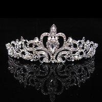 ücretsiz gönderim bedeni taçları toptan satış-Marka Yeni Gelin Düğün Kristal Rhinestone Saç Bandı Prenses Taç Tarak Tiara Balo Pageant 1 Adet Ücretsiz Kargo HJ225