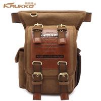 Wholesale kaukko bags resale online - Hot sale kaukko menThick canvas travel shoulder bags vintage unique messenger bags man cross body bag KAUKKO Canvas Leather