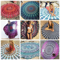 Wholesale Wholesale Printed Towels - Indian Mandala Beach Towel Round Beach Blanket Chiffon Elephant Printing Tapestry Yoga Mat Summer Picnic Rug 39 Designs YW388