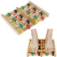 Wholesale reflexology foot massager - Wooden Foot Massager Roller Reflexology for Stress Fitness Health Care Feet Massager Colorful Massage Roller Pain Relief