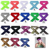 Wholesale hair tie for women - Solid Tie Back Headbands Stretch Sweatbands Hair Band Moisture Wicking Men Women Bands scarves for Sports Running Jogging GGA517 100PCS
