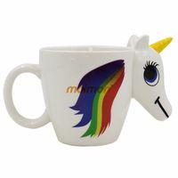Wholesale coloured mugs wholesale - Ceramic Cup Unicorn Change Colour Originality Cartoon Lovely Office Hand Cups Girl Birthday Gift Mug Hot Sale 20kb V