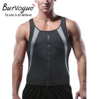 ingrosso camicia dimagrante della vita del mens-Burvogue Mens Waist Trainer Sauna Vest per perdere peso Hot Neoprene Sweat Body Shaper Zipper Slimming Tank Top Workout Shirt