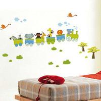 bebek kreşi için hayvan dekorasyonu toptan satış-Yeni Çıkarılabilir Sticker Hayvan Rulo Tarzı Duvar Çıkartmaları Kreş Boy Çocuk Bebek Odası Dekor Vinil Sanat Çıkartması