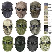 taktischer schutz schädel maske großhandel-Airsoft Ausrüstung Outdoor Schießen Sport Gesichtsschutz Ausrüstung Vollgesichts Taktische Airsoft Camouflage Gost Schädel Maske