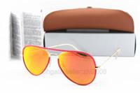 мужские красные рамные солнцезащитные очки оптовых-Высокое качество классический пилот солнцезащитные очки Солнцезащитные очки Cassdall для мужчин Womes полный Красный рамка оранжевый зеркало 58 мм стекло объектива