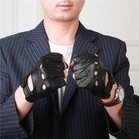 couro perfurado genuíno venda por atacado-Importado Pele De Carneiro Semi-Dedo Homem Couro Genuíno Perfurado Respirável Anti-Slip Condução Masculino Metade do Dedo Luvas NM1804