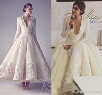 Wholesale line dress split middle resale online - Sonam Kapoor in Ashi Studio White Vintage Tea length Evening Formal Dresses V neck Long Sleeve Middle East Arabic Occasion Prom Gowns