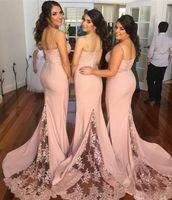 Wholesale Junior Size 16 - 2018 Blush Pink Bridesmaid Dresses Spaghetti Strap Sleeveless Mermaid Lace Junior Country Bridesmaid Dresses Long Maid Of Honor Dress