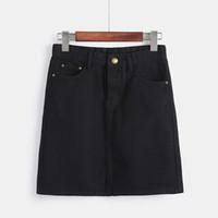 горячие черные юбки оптовых-Korean Fashion Spring Denim Skirts For Women Large Size High Waist Mini Saia Girls Black White Jeans Skirt Summer Falda Hot Sale