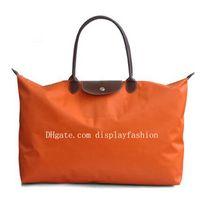 Wholesale orange pattern handbag for sale - Group buy Brand New Fashion Women Luxury Travel Bag Brown Chocolate Nylon Women Handbags Single Zipper Cross Pattern Clutch Girl Duffel Big Bags