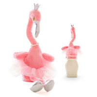 Wholesale electronic music toys for sale - Electric Plush Flamingo Toys Crown Pearl Necklace Dancing Shoes Designer Plush D PP Cotton Stuffed Music Flashing Battery Baby Girls Gift