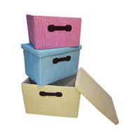 Wholesale Wood Desktop Box Organizer - 3 Color Paper storage box Creative Storage Supplies Style Pastoral Floral Desktop Storages Box Officer Storage Box
