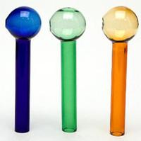 pulseiras de narguilé venda por atacado-Venda barato Colorido Queimador De Óleo De Espessura 12 cm tubo de vidro tubo de vidro colorido puff tigela de vidro azul verde âmbar tudo claro