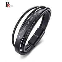 пользовательские кожаные манжеты браслеты оптовых-Бесплатные пользовательские браслеты для мужчин стильный черный натуральная кожа манжеты браслеты браслеты 8.4