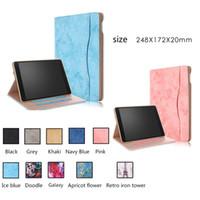 ipad için duruyor toptan satış-Sıcak İş Katlanır PU Deri Elastik El Kayışı Standı Kılıf apple iPad hava 2 ipad Funda Tablet Kapak Için ipad air2