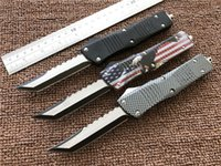 Wholesale Auto Gear Tools - D A Custom knives Hellhound Tanto Auto knife 440C steel EDC Camping gear knifes hunting tactical Tools with nylon sheath No logo