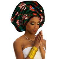 afrikanische hüte großhandel-African Head Wrap 2018 Frauen Headwear Print Stoff Headwrap Krawatte Schal Twist Haarband Turban Bandana Bandage Hijab Hüte