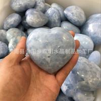 ingrosso blue stone decorations-Cuore a forma di pietra di cristallo Rare Energy Hand Piece Blu naturale Lover Gife Ruvido Pietre Ornamento Per La Decorazione Domestica Craft 55ly jj