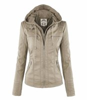 Wholesale women s wool hats white resale online - coat fashion zip stitching short leather jacket
