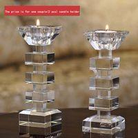 tealight cam mumluklar toptan satış-Zarif Temizle Kristal Mum Standı Şamdan Tutucu Cam Tealight Tutucu Sopa ve Tealight Yemeği Dekor için DEC176