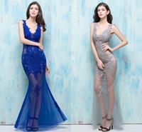 ingrosso blue fish tail dress-Nightclub Sexy Look 2019 Sexy Black Piano Blu Abiti da ballo Lunga sezione Slim Fish Tail Deep V Club Donne sexy Primavera ed Estate