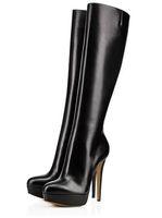 senhoras longas botas de neve venda por atacado-Clássico inverno mulher plataforma preta dedo do pé redondo de salto alto botas longas Moda fina salto na altura do joelho botas de neve Senhoras