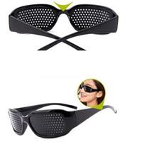 pin brillen großhandel-Pin Loch Brillen Frauen Männer Anti-Müdigkeit Pinhole Brillen Damen Herren Vision Care Eye Übung Sehkraft Brille zu verbessern
