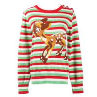 glänzender knopf großhandel-2018 Runway Design Winter Top Block Streifen Marienkäfer Button Deer Muster glänzende Wolle stricken Pullover Frauen Pullover Vintage Jumper