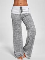 Wholesale plus woman yoga pants for sale - Group buy Summer New Yoga Pants Women Black Gray Wide Legs Breathable Dance Pants Trousers Plus Size S XL
