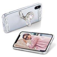 iphone5 fallstandplatz großhandel-Luxuxdiamant-Kristallrhinestone-Glitter-weicher TPU-Spiegel-Kasten für Iphone5 6 7/8 plus Abdeckung mit Ring-Halter-Stand