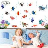 vinil balık dekal çocuklar toptan satış-KRAVAT LER Yeni Balık SeabedWall Sticker Karikatür Duvar Sticker Dekor Çıkarılabilir Vinil Kreş Çocuk Odası Çıkartmaları