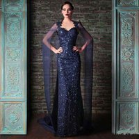 Wholesale Evening Shawls Tulle - Classic Dark Blue Sequined Evening Dresses Unique Mermaid Sparkly with Shawl Arabic Custom Size Cocktail Gown